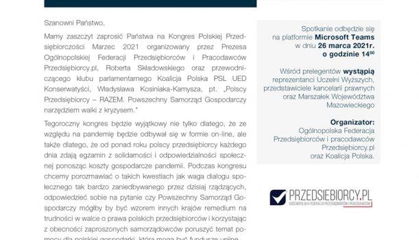 ZAPROSZENIE NA KONGRES POLSKIEJ PRZEDSIĘBIORCZOŚCI 26.03.2021R.
