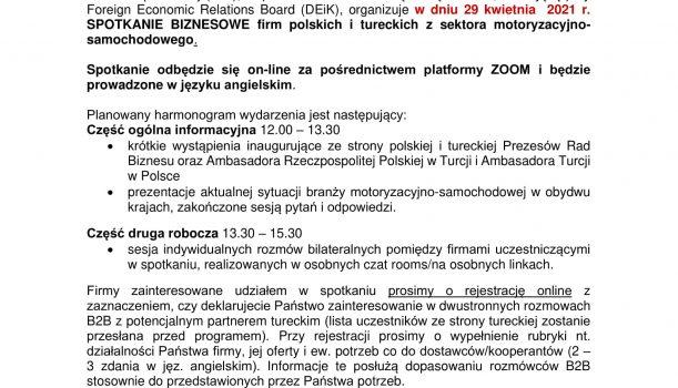 POLSKA – TURCJA Wirtualne spotkanie biznesowe sektor samochodowo motoryzacyjny