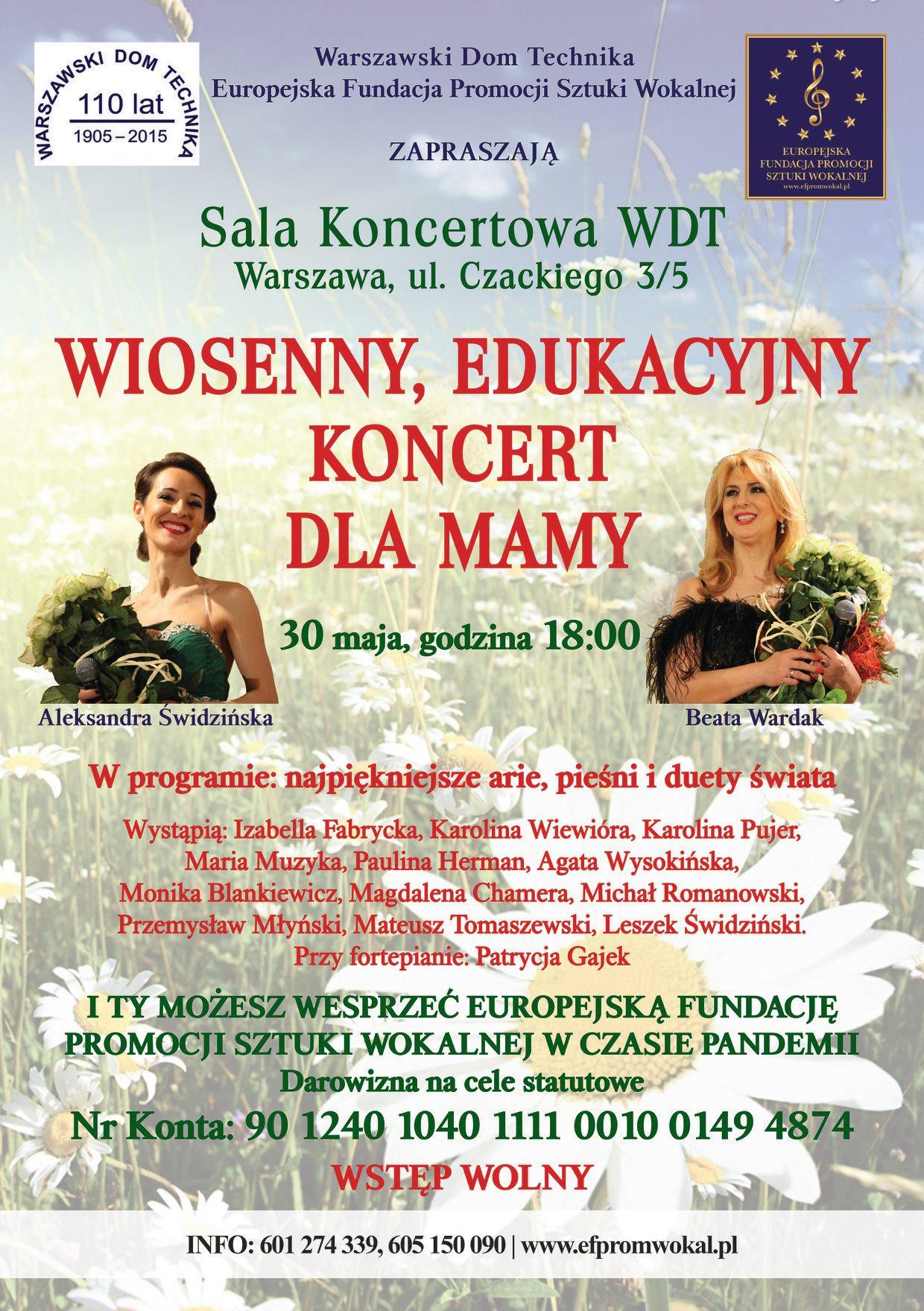 Zaproszenie w imieniu Warszawski Dom Technika NOT na Wiosenny Koncert Edukacyjny